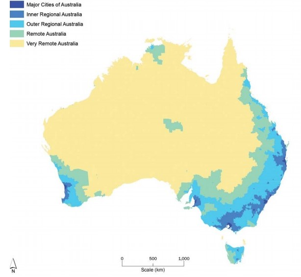 Australia as 5 regions defined by remoteness from services